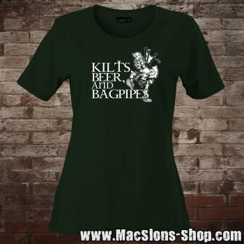 Kilts, Beer & Bagpipes Girly-Shirt (green)