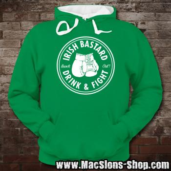 "Irish Bastard ""Drink & Fight"" Contrast Hoodie (kelly green/white)"