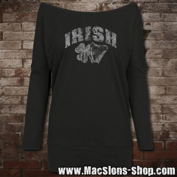 "Irish ""Shamrock & Harp"" Ladies Batwing Longsleeve (black)"