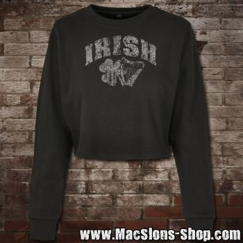 "Irish ""Shamrock & Harp"" Girl-Cropped-Sweatshirt (black)"