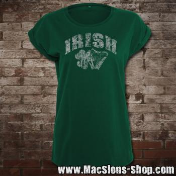 "Irish ""Shamrock & Harp"" Girly-Extended Shoulder T-Shirt (green)"