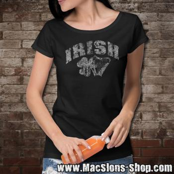 "Irish ""Shamrock & Harp"" Girly-Shirt (black)"