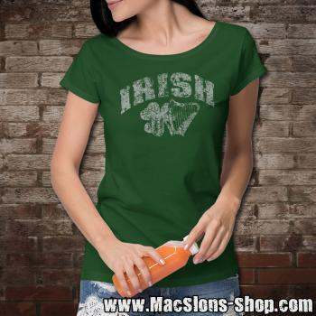 "Irish ""Shamrock & Harp"" Girly-Shirt (green)"