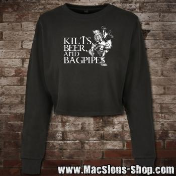 Kilts, Beer & Bagpipes Girl-Cropped-Sweatshirt (black)
