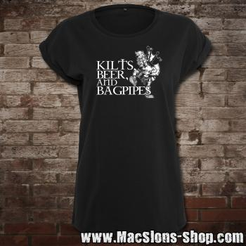 Kilts, Beer & Bagpipes Girly-Extended Shoulder T-Shirt (black)
