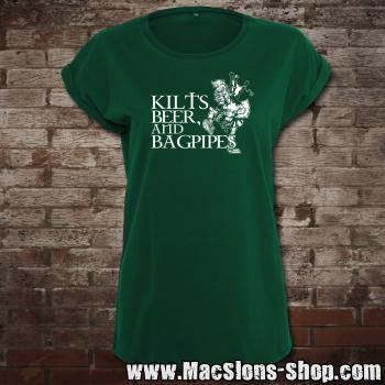 Kilts, Beer & Bagpipes Girly-Extended Shoulder T-Shirt (green)