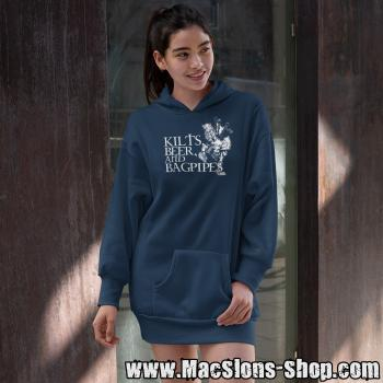 Kilts, Beer & Bagpipes Girl-Longline-Hoodie (New French Navy)