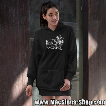 Kilts, Beer & Bagpipes Girl-Longline-Hoodie (black)