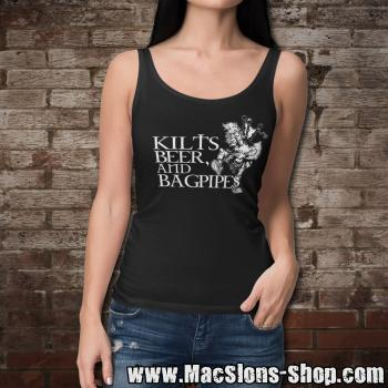 Kilts, Beer & Bagpipes Girl-Tank-Top (black)