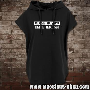 """Love Music - Hate Racism"" Ladies` Sleeveless Hoody  (black)"