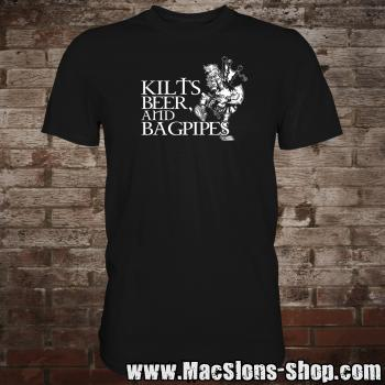 Kilts, Beer & Bagpipes T-Shirt (black)