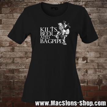 Kilts, Beer & Bagpipes Girly-Shirt (black)