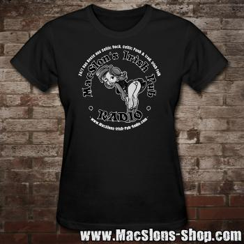"MacSlon's ""Irish Girl Logo"" Girly-Shirt (black)"