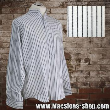 Stehkragenhemd / Grandfather Shirt - Stripes (white/black)