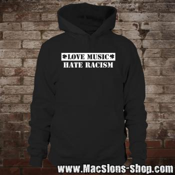 """Love Music - Hate Racism"" Hoodie (black/white)"