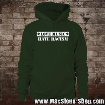 """Love Music - Hate Racism"" Hoodie (green/white)"