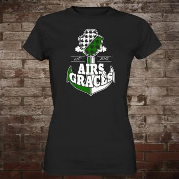 "Airs and Graces ""Anchor"" Girly-Shirt (black)"