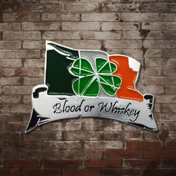 "Blood Or Whiskey ""Shamrock"" Metallpin"