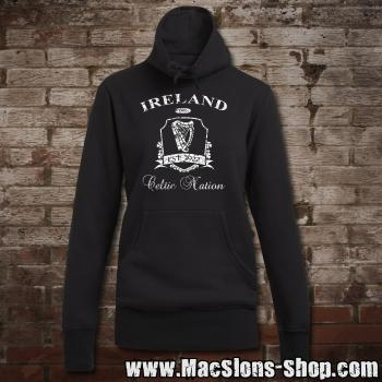 "Ireland ""Celtic Nation II"" Girly Sweater Turtleneck (black/white)"