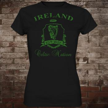 "Ireland ""Celtic Nation II"" Girly-Shirt (black/green)"