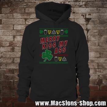 "MacSlon's ""Merry Kiss My Ass"" Christmas Hoodie (black)"