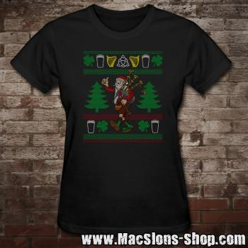 "MacSlon's ""Kilted Santa"" Christmas Girly-Shirt (black)"