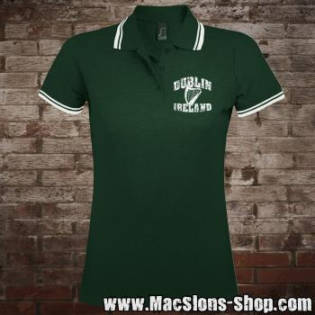 "Dublin ""Ireland - Harp"" Girly-Polo-Shirt (green-white)"