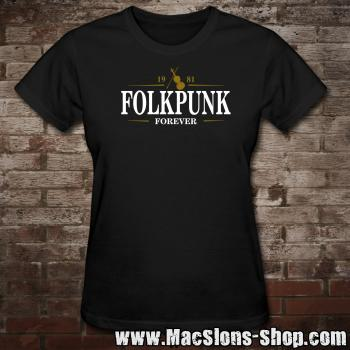 "MacSlon's ""Folkpunk - Forever"" Girly-Shirt (black)"