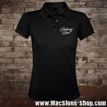 "Galway Girl ""Script"" Girly-Polo-Shirt (black-prime)"