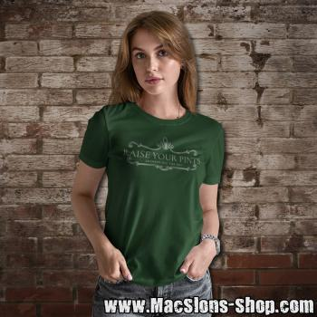 "Raise Your Pints ""Drinkin All The Day"" Girly-Shirt (green)"