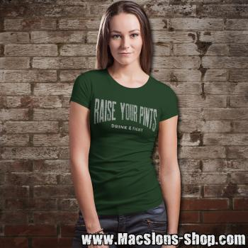 "Raise Your Pints ""Drink & Fight"" Girly-Shirt (green)"