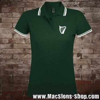 """Harp"" Girly-Polo-Shirt (green-white)"