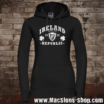 "Ireland ""Republic"" Girly-Hoodie (black/white)"