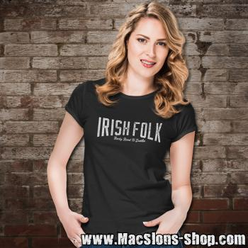 "Irish Folk ""Rocky Road To Dublin"" Girly-Shirt (black)"