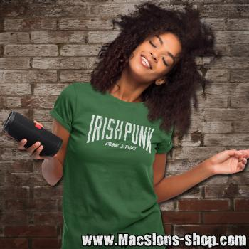 "Irish Punk ""Drink & Fight"" Girly-Shirt (green)"