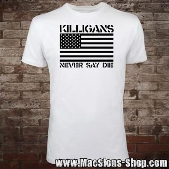 "Killigans ""Never Say Die"" T-Shirt (white/black)"