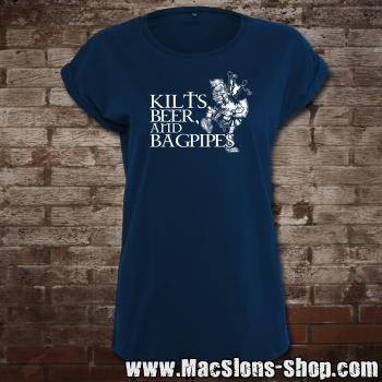 Kilts, Beer & Bagpipes Girly-Extended Shoulder T-Shirt (navy)