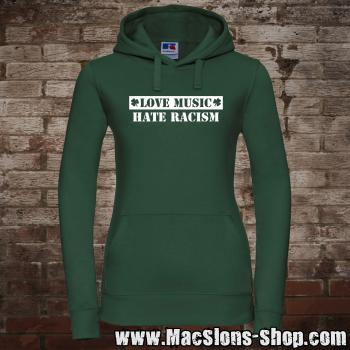 """Love Music - Hate Racism"" Girly-Hoodie (green/white)"