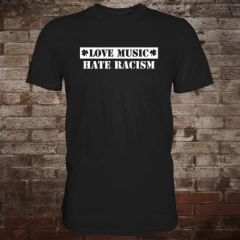 """Love Music - Hate Racism"" T-Shirt (black/white)"