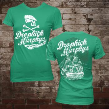 "Dropkick Murphys ""Scally Skull Ship"" Girly-Shirt (Green)"