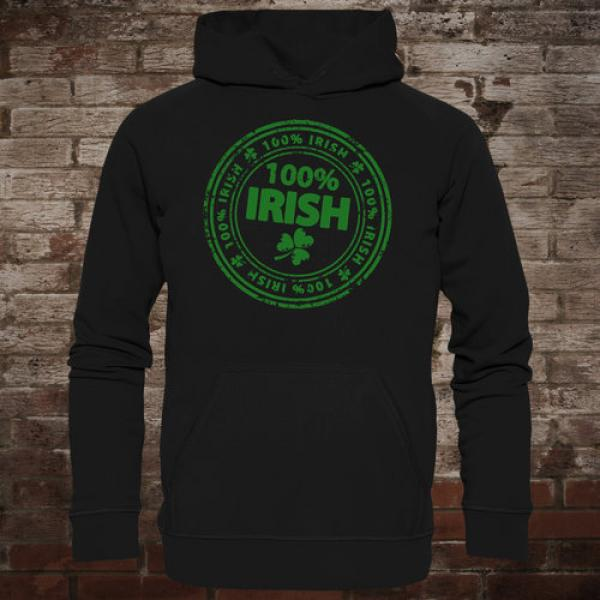 """100 % Irish"" Hoodie (black/green)"