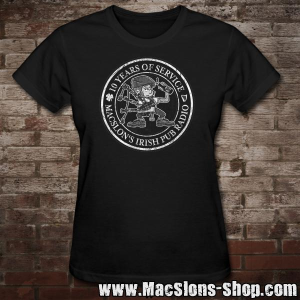 "MacSlon's ""10 Years Of Service"" Girly-Shirt (black)"