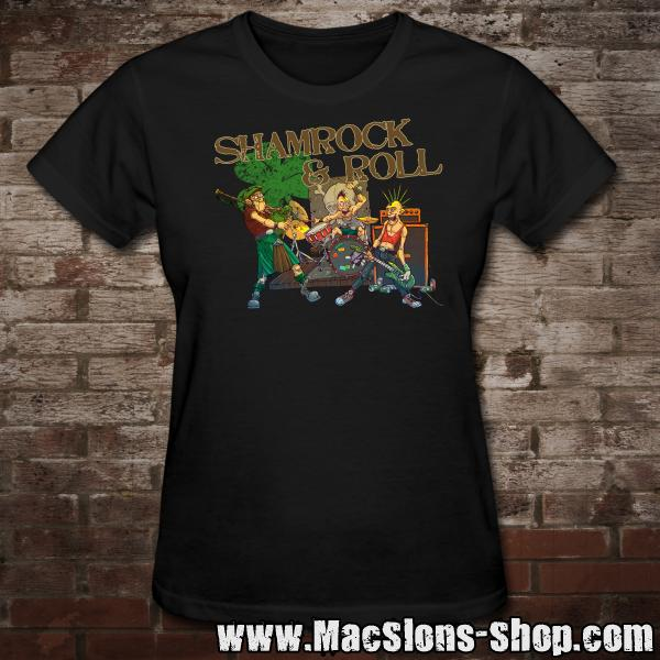 "MacSlon's ""Shamrock & Roll"" Girly-Shirt (black)"