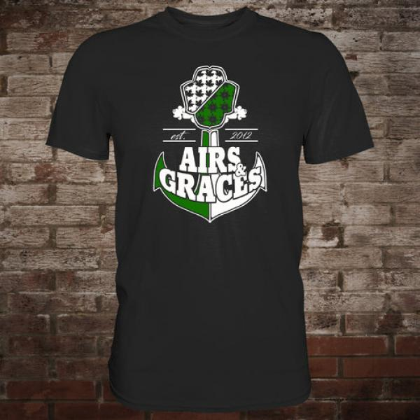 "Airs and Graces ""Anchor"" T-Shirt (black)"
