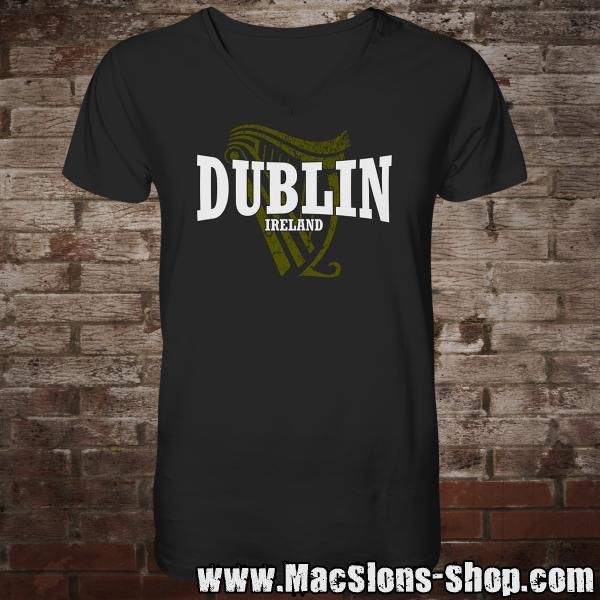 "Dublin ""Ireland Harp II"" V-Neck-Shirt (black)"