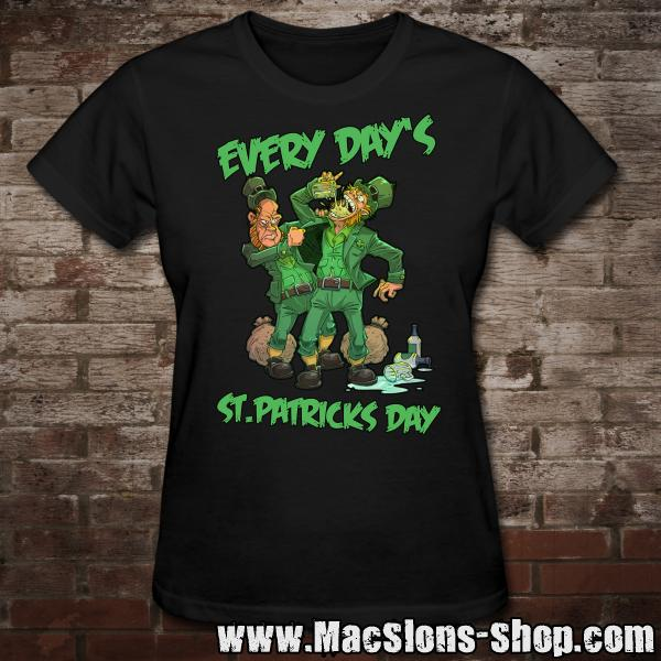 "MacSlon's ""Every Day's St. Patricks Day"" Girly-TShirt (black)"