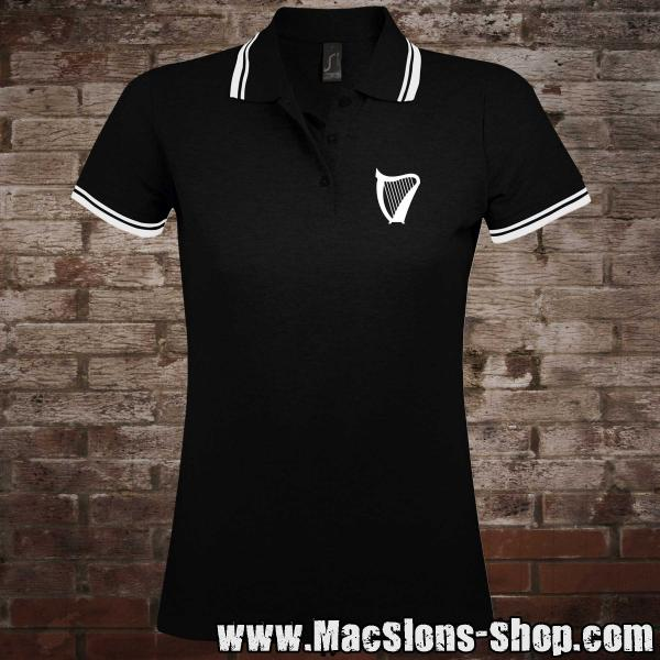 """Harp"" Girly-Polo-Shirt (black-white)"