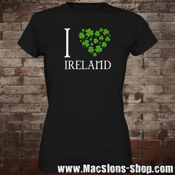 I Love Ireland Girly-Shirt (black)