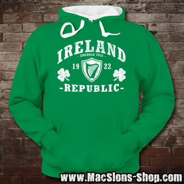 "Ireland ""Republic"" Contrast Hoodie (kelly green/white)"