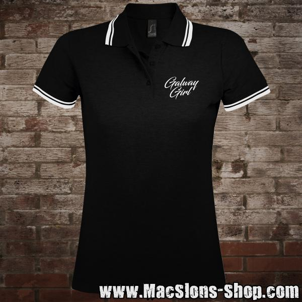 "Galway Girl ""Script"" Girly-Polo-Shirt (black/white)"